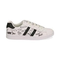 Sneakers bianche con scritte cartoon, Scarpe, 172621103EPBIAN035, 001 preview