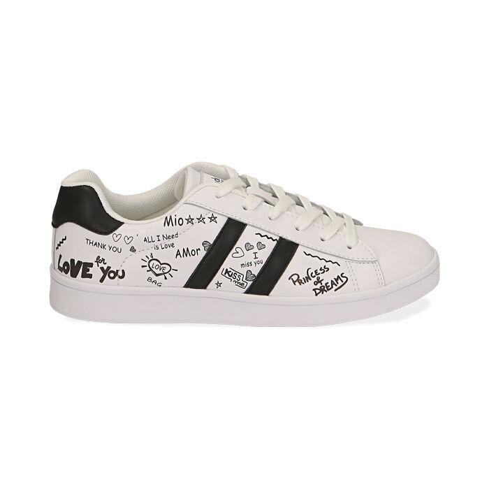 Sneakers bianche con scritte cartoon, Scarpe, 172621103EPBIAN035