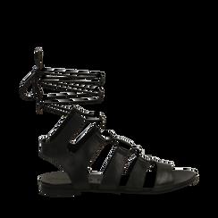 Sandali gladiator neri in vera pelle, Primadonna, 137713337PENERO036, 001a