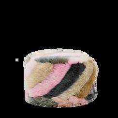 Colbacco multicolore/rosa in eco-pelliccia, Saldi Abbigliamento, 12B413001FUROSA3XL, 001a