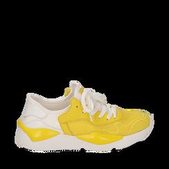 Dad shoes en tejido tecnico color amarillo, Zapatos, 15F609059TSGIAL036, 001a