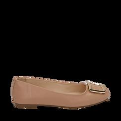 Ballerines nude en simili-cuir avec une boucle, Chaussures, 154969811EPNUDE035, 001a
