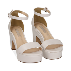 Sandali bianchi, tacco zeppa 8,50 cm, Primadonna, 158480214EPBIAN037, 002a