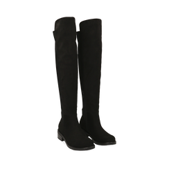 Stivali overknee neri in microfibra, tacco 4 cm , Primadonna, 163025001MFNERO036, 002a
