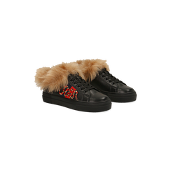 Sneakers nere con ricami animalier e dettagli in faux-fur, Primadonna, 126102020EPNERO035, 002 preview