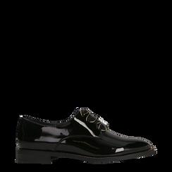 Stringate derby vernice nera tacco basso, Primadonna, 120618121VENERO035, 001a