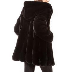 Pelliccia nera in eco fur, Primadonna, 16B420510FUNEROM, 002a