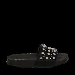 Zeppe nere in raso con perle e strass, Primadonna, 112028218RSNERO035, 001a