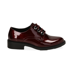 Stringate bordeaux in vernice, Scarpe, 14A776153VEBORD035, 001 preview