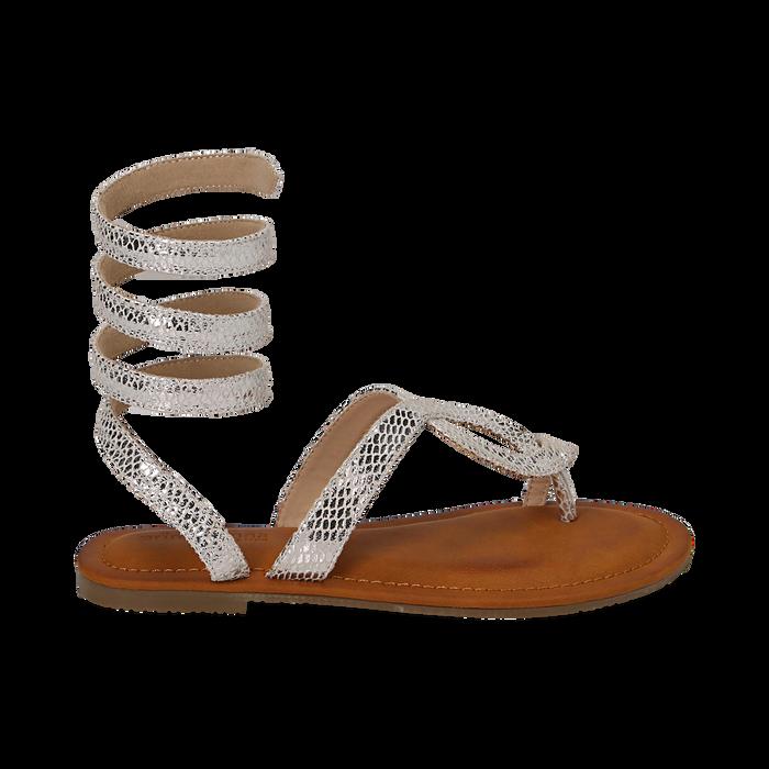 Sandali infradito argento stampa vipera, Scarpe, 154921381EVARGE036