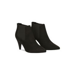 Stivaletti Chelsea neri con tacco medio a cono 8 cm, Primadonna, 124985789MFNERO, 002 preview