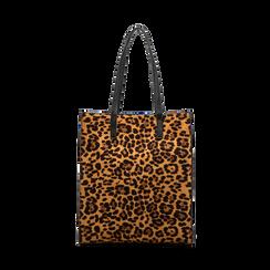 Borsa shopper leopard in microfibra, Borse, 122900004MFLEOPUNI, 001 preview
