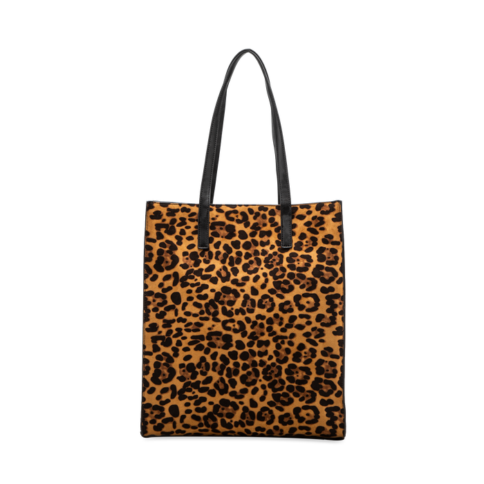 Borsa shopper leopard in microfibra, Saldi, 122900004MFLEOPUNI