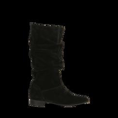 Stivali Neri in vero camoscio con gambale morbido, tacco 2,5 cm, 128900900CMNERO035, 001a