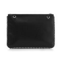 Bustina nera in eco-pelle con profilo di mini-boules, Borse, 113308956EPNEROUNI, 003 preview
