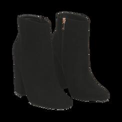 Ankle boots a punta neri in microfibra, tacco 11 cm , Stivaletti, 142186942MFNERO035, 002 preview