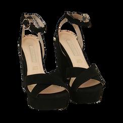 Sandali neri in microfibra con plateau, tacco 12 cm, Sandali con tacco, 152133001MFNERO035, 002 preview