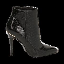 Ankle boots neri stampa cocco, tacco 11 cm , Stivaletti, 142168616CCNERO035, 001 preview