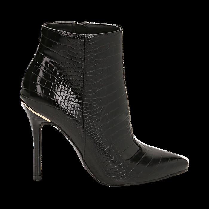 Ankle boots neri stampa cocco, tacco 11 cm , Stivaletti, 142168616CCNERO035