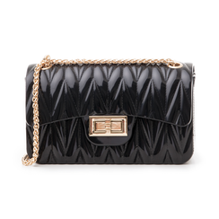 Mini-bag nera in pvc, Saldi Estivi, 137409999PVNEROUNI, 001 preview