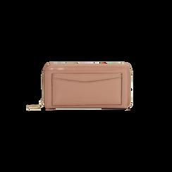Portafoglio rosa nude  in ecopelle vernice con 10 vani, Saldi, 125709023VENUDEUNI, 001 preview
