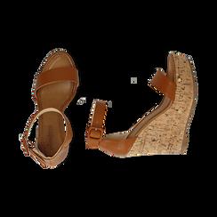 Sandali cuoio, zeppa 12 cm, Scarpe, 154981001EPCUOI, 003 preview