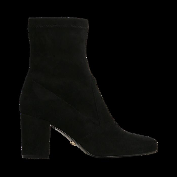 Ankle boots neri in microfibra, tacco 7,5 cm , Stivaletti, 143072170MFNERO035