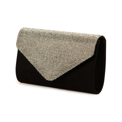 Pochette laminada con pedrería color negro, Bolsos, 155108562MFNEROUNI, 004 preview