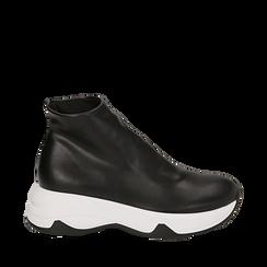 Sneakers a calza nere in eco-pelle, zeppa 5 cm , Scarpe, 142008357EPNERO035, 001a