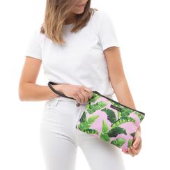 Pochette verde in raso con stampa jungle, Saldi Estivi, 115910014RSVERDUNI, 002a