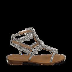 Sandali gioiello argento in eco-pelle laminata, Chaussures, 154921933LMARGE036, 001a