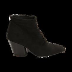 Ankle boots neri in microfibra, tacco 7,50 cm, Promozioni, 160598311MFNERO036, 001 preview