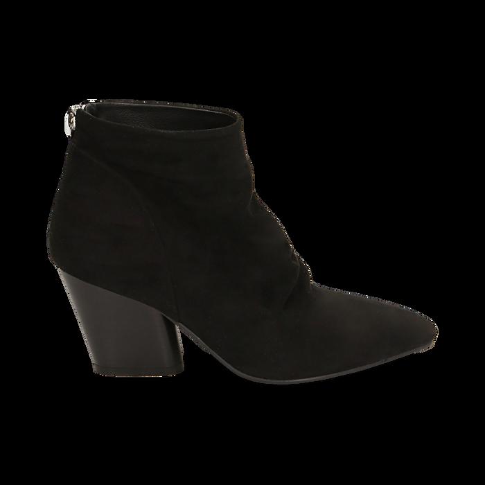 Ankle boots neri in microfibra, tacco 7,50 cm, Promozioni, 160598311MFNERO036
