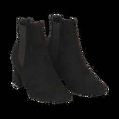 Ankle boots neri in microfibra, tacco trapezio 6 cm , Stivaletti, 142707127MFNERO036, 002 preview