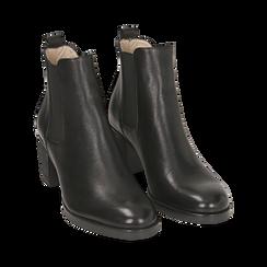 Chelsea boots neri in pelle, tacco 6 cm, Mid Season Sale, 157711439PENERO035, 002 preview