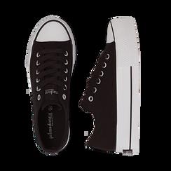 Sneakers bianche in canvas, platform 4 cm, Scarpe, 132619385CANERO038, 003 preview