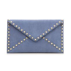 Pochette borchiata azzurra in microfibra, Borse, 133302219MFAZZUUNI, 001 preview