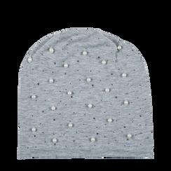 Berretto invernale grigio in tessuto con perle, Saldi Abbigliamento, 12B480739TSGRIGUNI, 001a