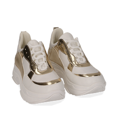Dad shoes bianco/oro in eco-pelle, Sneakers, 15K429169EPBIOR035, 002a