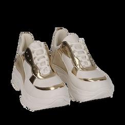Dad shoes en eco-piel color blanco/dorado, Zapatos, 15K429169EPBIOR036, 002a