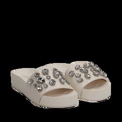 Zeppe bianche in eco-pelle con gemme, zeppa 4 cm, Primadonna, 115160026EPBIAN035, 002a