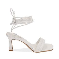 Sandali lace-up bianchi, tacco 7,5 cm, Primadonna, 17L800196EPBIAN036, 001a