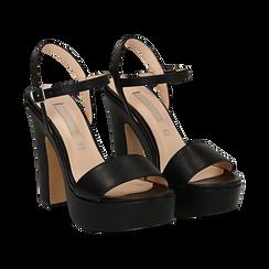 Sandali con plateau neri in eco-pelle, tacco 13 cm ,