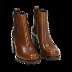 Chelsea boots cuoio in pelle, tacco 7,50 cm , Primadonna, 167734401PECUOI035, 002a