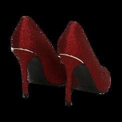 Décolleté rosse in glitter, tacco 11 cm , Scarpe, 142146861GLROSS036, 004 preview