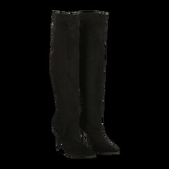 Stivali sopra il ginocchio neri scamosciati, tacco stiletto 10 cm, Primadonna, 122186701MFNERO036, 002 preview