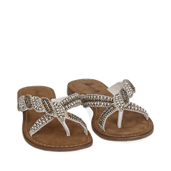 Ciabatte bianche in raso con pietre, Zapatos, 15K808061RSBIAN036, 002a