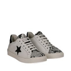 Sneakers bianco/nere in pelle con pattina snake skin, Scarpe, 13C300029PEBINE035, 002a