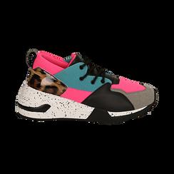 Sneakers fucsia in tessuto tecnico con dettagli leopard, zeppa 6,50 cm, Scarpe, 14D814201TSFUCS035, 001 preview