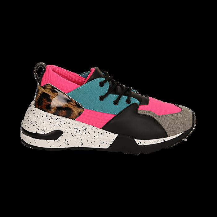 Sneakers fucsia in tessuto tecnico con dettagli leopard, zeppa 6,50 cm, Scarpe, 14D814201TSFUCS035